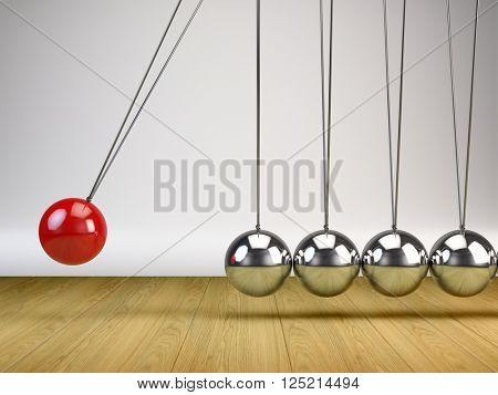 Balancing Balls Newton's Cradle - 3d render