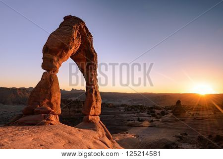 Sunset moment and Delecate arch sand stone at Arches National Park Utah USA