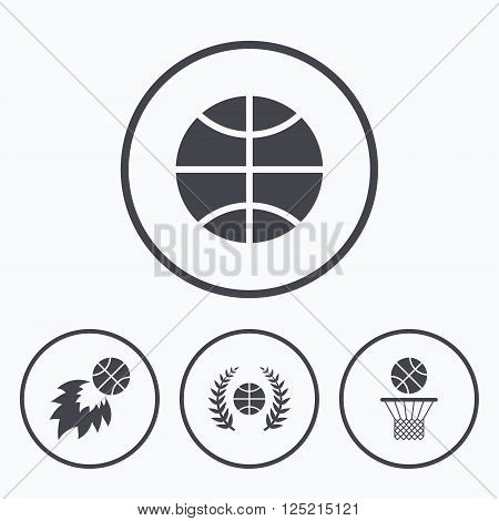 Basketball sport icons. Ball with basket and fireball signs. Laurel wreath symbol. Icons in circles.