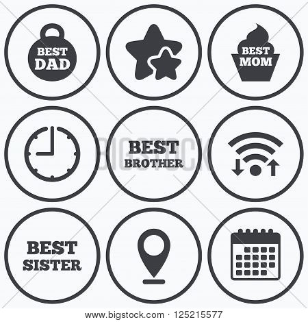 Clock, wifi and stars icons. Best mom and dad, brother and sister icons. Weight and cupcake signs. Award symbols. Calendar symbol.