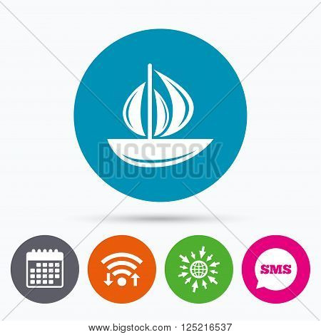 Wifi, Sms and calendar icons. Sail boat icon. Ship sign. Shipment delivery symbol. Go to web globe.