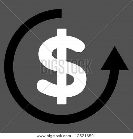 Refund vector icon. Refund icon symbol. Refund icon image. Refund icon picture. Refund pictogram. Flat black and white refund icon. Isolated refund icon graphic. Refund icon illustration.