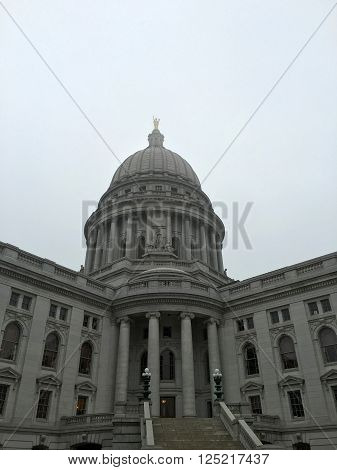 Wisconsin state capitol building up close vertical view.