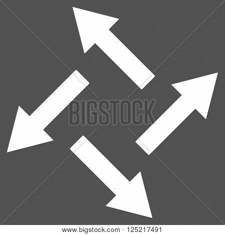 Centrifugal Arrows vector icon. Centrifugal Arrows icon symbol. Centrifugal Arrows icon image. Centrifugal Arrows icon picture. Centrifugal Arrows pictogram. Flat white centrifugal arrows icon.