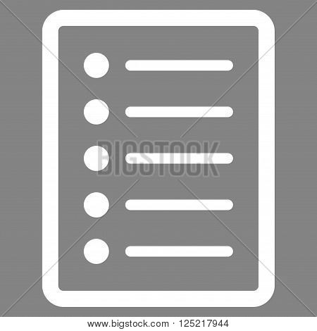List Page vector icon. List Page icon symbol. List Page icon image. List Page icon picture. List Page pictogram. Flat white list page icon. Isolated list page icon graphic.
