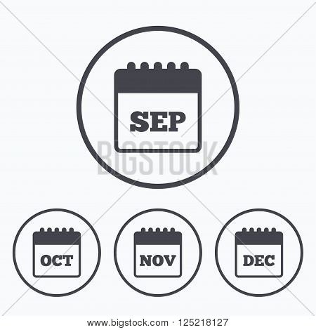 Calendar icons. September, November, October and December month symbols. Date or event reminder sign. Icons in circles.