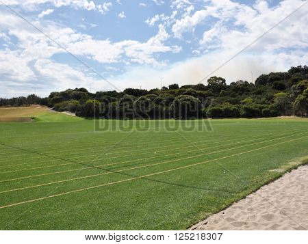 Green manicured sports pitch with lush green treed border under a blue sky with clouds.