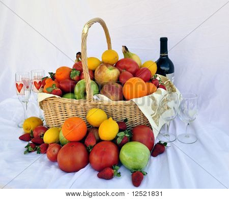 Romantic Wine Fruit Basket
