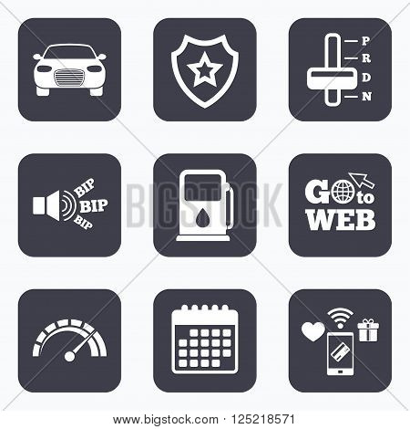 Mobile payments, wifi and calendar icons. Transport icons. Car tachometer and automatic transmission symbols. Petrol or Gas station sign. Go to web symbol.