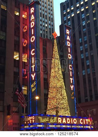 NEW YORK, NY - DEC 20: Christmas decor at Radio City, entertainment venue located in Rockefeller Center, in New York, as seen on Dec 20, 2015. Its interior was declared a city landmark in 1978.