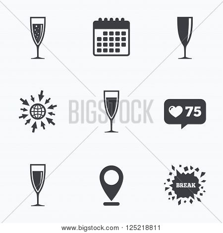 Calendar, like counter and go to web icons. Champagne wine glasses icons. Alcohol drinks sign symbols. Sparkling wine with bubbles. Location pointer.