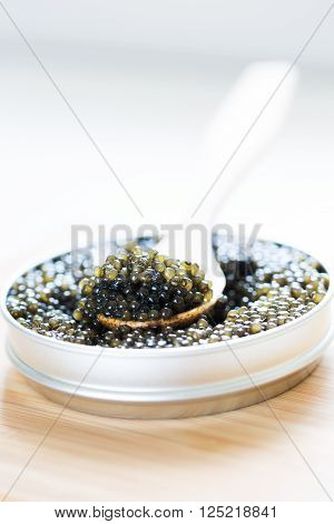 close-up view of metal tin with black sturgeon caviar and wooden spoon on it