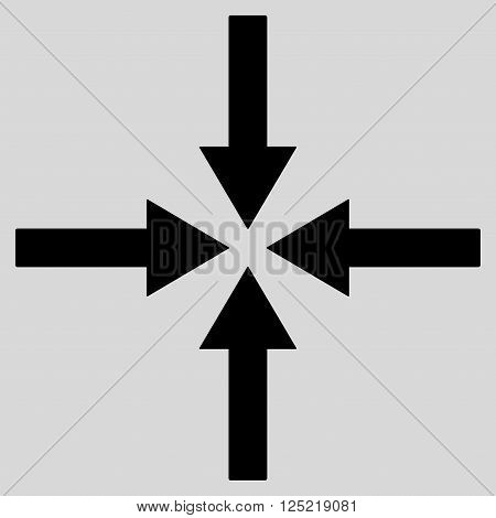 Impact Arrows vector icon. Impact Arrows icon symbol. Impact Arrows icon image. Impact Arrows icon picture. Impact Arrows pictogram. Flat black impact arrows icon. Isolated impact arrows icon graphic.
