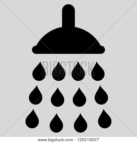 Shower vector icon. Shower icon symbol. Shower icon image. Shower icon picture. Shower pictogram. Flat black shower icon. Isolated shower icon graphic. Shower icon illustration.