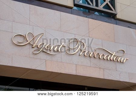 BEVERLY HILLS, CA/USA - MAY 10, 2015: Agent Provocateur retail store exterior on exclusive Rodeo Drive. Agent Provocateur is a British lingerie retailer.