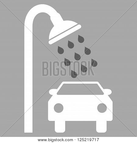 Car Shower vector icon. Car Shower icon symbol. Car Shower icon image. Car Shower icon picture. Car Shower pictogram. Flat dark gray and white car shower icon. Isolated car shower icon graphic.