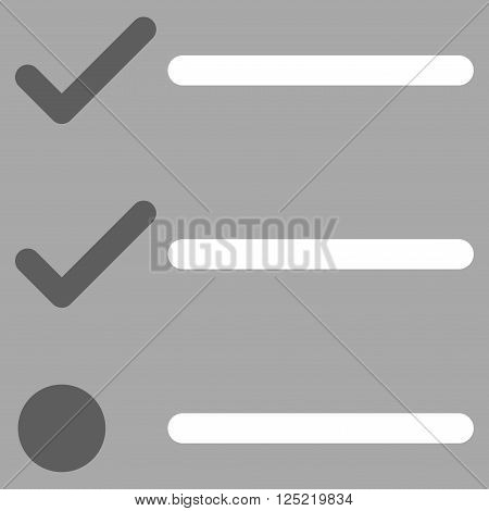 Checklist vector icon. Checklist icon symbol. Checklist icon image. Checklist icon picture. Checklist pictogram. Flat dark gray and white checklist icon. Isolated checklist icon graphic.