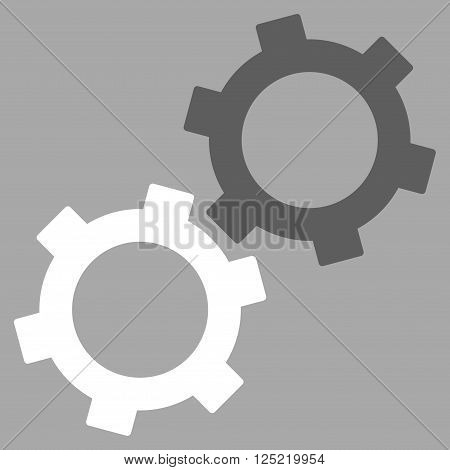 Gears vector icon. Gears icon symbol. Gears icon image. Gears icon picture. Gears pictogram. Flat dark gray and white gears icon. Isolated gears icon graphic. Gears icon illustration.