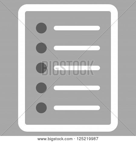 List Page vector icon. List Page icon symbol. List Page icon image. List Page icon picture. List Page pictogram. Flat dark gray and white list page icon. Isolated list page icon graphic.