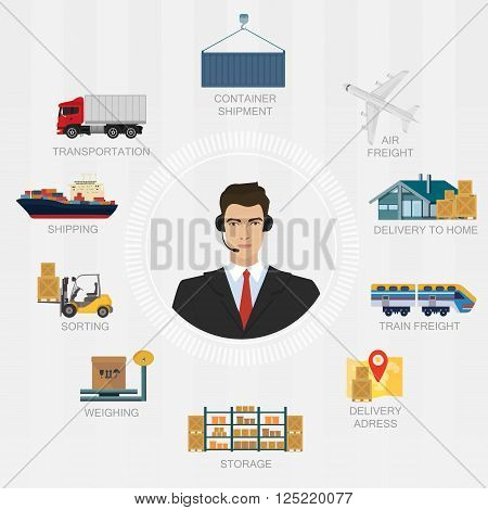 Vector logistics manager agent concept. Delivery cargo system vector service illustration