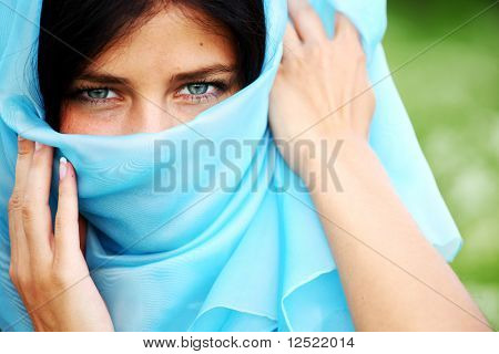 woman portrait in blue fabric