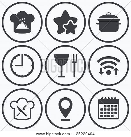 Clock, wifi and stars icons. Chief hat and cooking pan icons. Crosswise fork and knife signs. Boil or stew food symbols. Calendar symbol.
