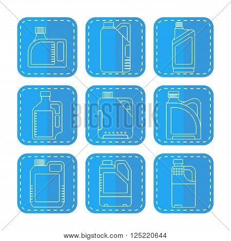 Blank plastic canisters, flat linear icons. Plastic packaging for machine oil, water and other liquids. Vector illustration