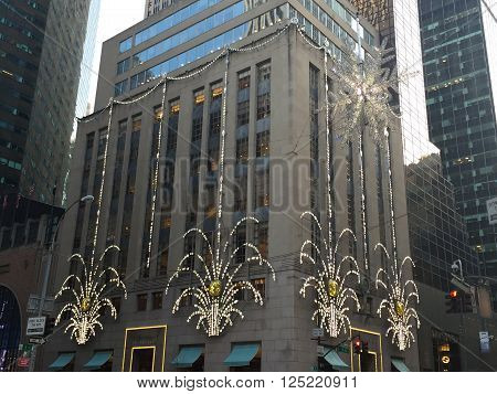NEW YORK, NY - DEC 20: Tiffany's Fifth Avenue flagship store in Manhattan, New York, as seen on Dec 20, 2015. Tiffany is renowned for its luxury goods and is particularly known for its diamond jewelry.