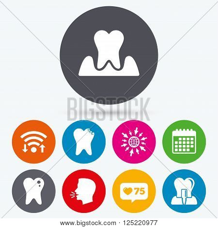 Wifi, like counter and calendar icons. Dental care icons. Caries tooth sign. Tooth endosseous implant symbol. Parodontosis gingivitis sign. Human talk, go to web.
