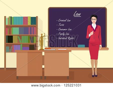 School Law female teacher in audience class concept. Vector illustration