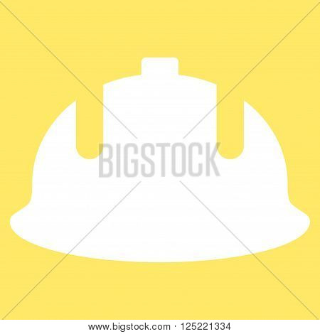 Construction Helmet vector icon. Construction Helmet icon symbol. Construction Helmet icon image. Construction Helmet icon picture. Construction Helmet pictogram. Flat white construction helmet icon.