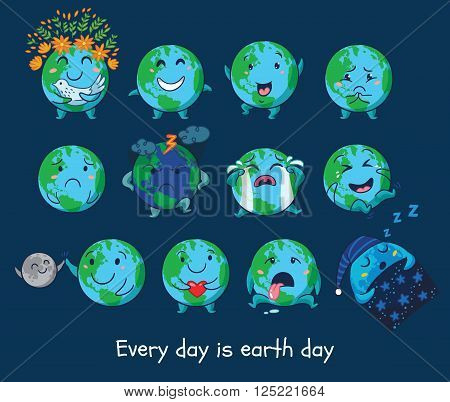 Every day is Earth Day. Earth planet globe with emotions. Cute cartoon Earth globe with emoji set. Vector illustration