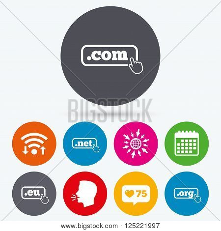 Wifi, like counter and calendar icons. Top-level internet domain icons. Com, Eu, Net and Org symbols with hand pointer. Unique DNS names. Human talk, go to web.