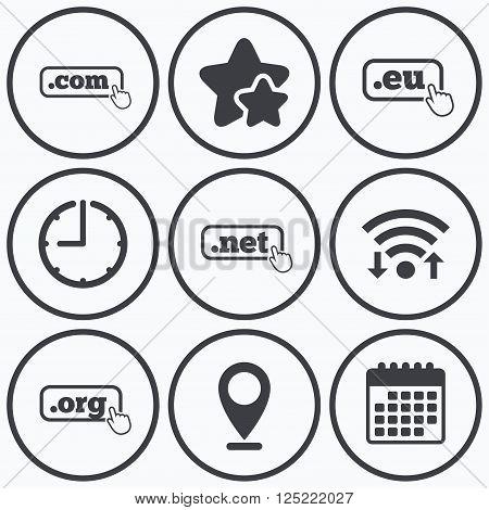 Clock, wifi and stars icons. Top-level internet domain icons. Com, Eu, Net and Org symbols with hand pointer. Unique DNS names. Calendar symbol.
