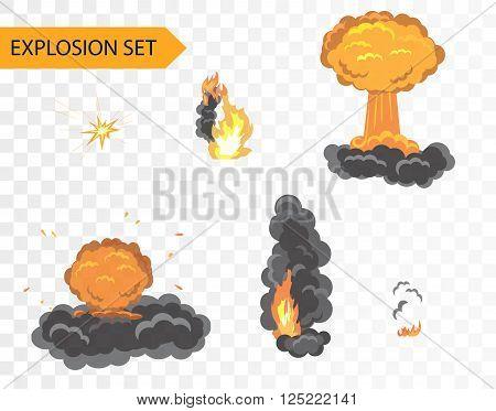 Explode animation effect. Vector cartoon explosion set on alpha background