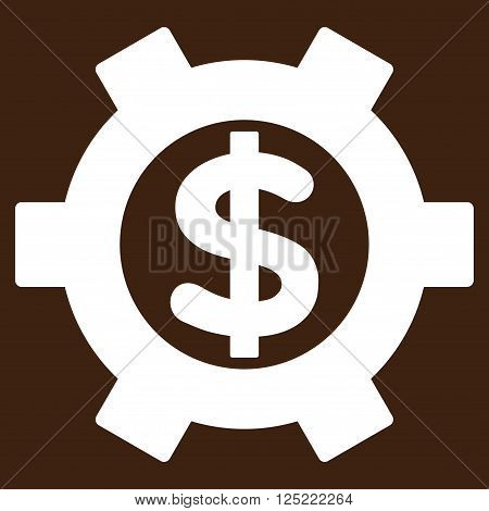 Financial Settings vector icon. Financial Settings icon symbol. Financial Settings icon image. Financial Settings icon picture. Financial Settings pictogram. Flat white financial settings icon.