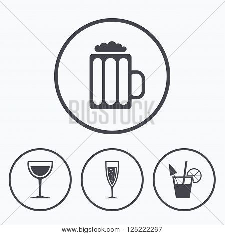 Alcoholic drinks icons. Champagne sparkling wine with bubbles and beer symbols. Wine glass and cocktail signs. Icons in circles.