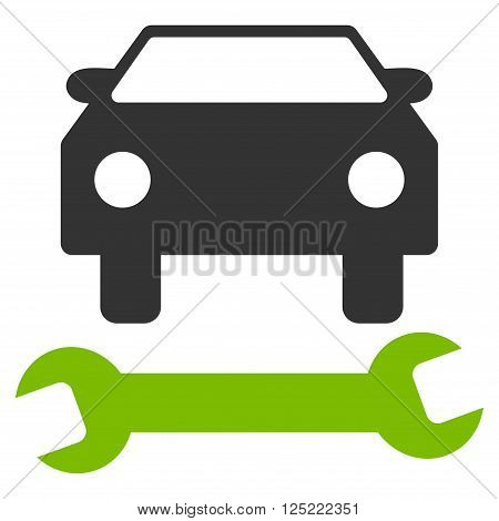 Car Repair vector icon. Car Repair icon symbol. Car Repair icon image. Car Repair icon picture. Car Repair pictogram. Flat eco green and gray car repair icon. Isolated car repair icon graphic.