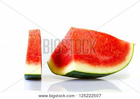 Slices of watermelon on the white background