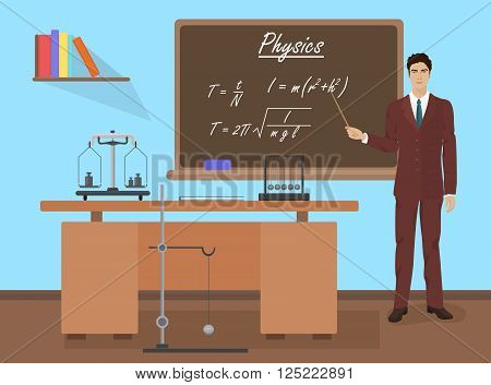 School physics teacher in audience class concept. Students and teachers science and education knowledge vector illustration