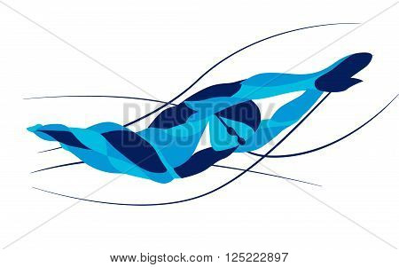 Trendy stylized illustration movement, freestyle swimmer silhouette, line vector silhouette  swimming