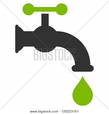 Water Tap vector icon. Water Tap icon symbol. Water Tap icon image. Water Tap icon picture. Water Tap pictogram. Flat eco green and gray water tap icon. Isolated water tap icon graphic.