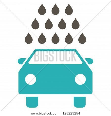 Car Wash vector icon. Car Wash icon symbol. Car Wash icon image. Car Wash icon picture. Car Wash pictogram. Flat grey and cyan car wash icon. Isolated car wash icon graphic.