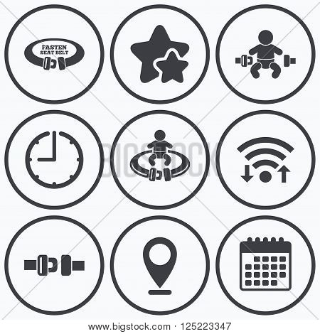 Clock, wifi and stars icons. Fasten seat belt icons. Child safety in accident symbols. Vehicle safety belt signs. Calendar symbol.