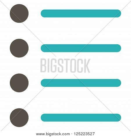 Items vector icon. Items icon symbol. Items icon image. Items icon picture. Items pictogram. Flat grey and cyan items icon. Isolated items icon graphic. Items icon illustration.