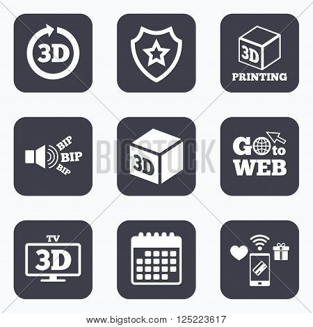 Mobile payments, wifi and calendar icons. 3d tv technology icons. Printer, rotation arrow sign symbols. Print cube. Go to web symbol.