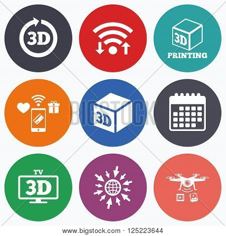 Wifi, mobile payments and drones icons. 3d tv technology icons. Printer, rotation arrow sign symbols. Print cube. Calendar symbol.