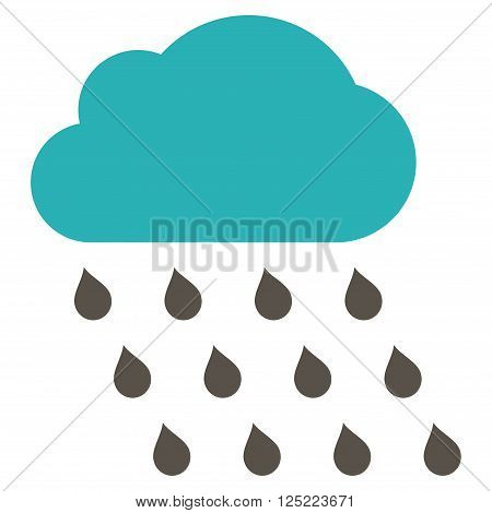 Rain Cloud vector icon. Rain Cloud icon symbol. Rain Cloud icon image. Rain Cloud icon picture. Rain Cloud pictogram. Flat grey and cyan rain cloud icon. Isolated rain cloud icon graphic.