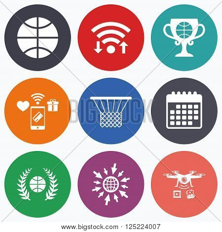 Wifi, mobile payments and drones icons. Basketball sport icons. Ball with basket and award cup signs. Laurel wreath symbol. Calendar symbol.