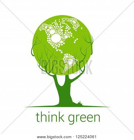Think Green, Eco symbol, land in the tree crown, Concept ecology icons, modern design style vector, vector illustration